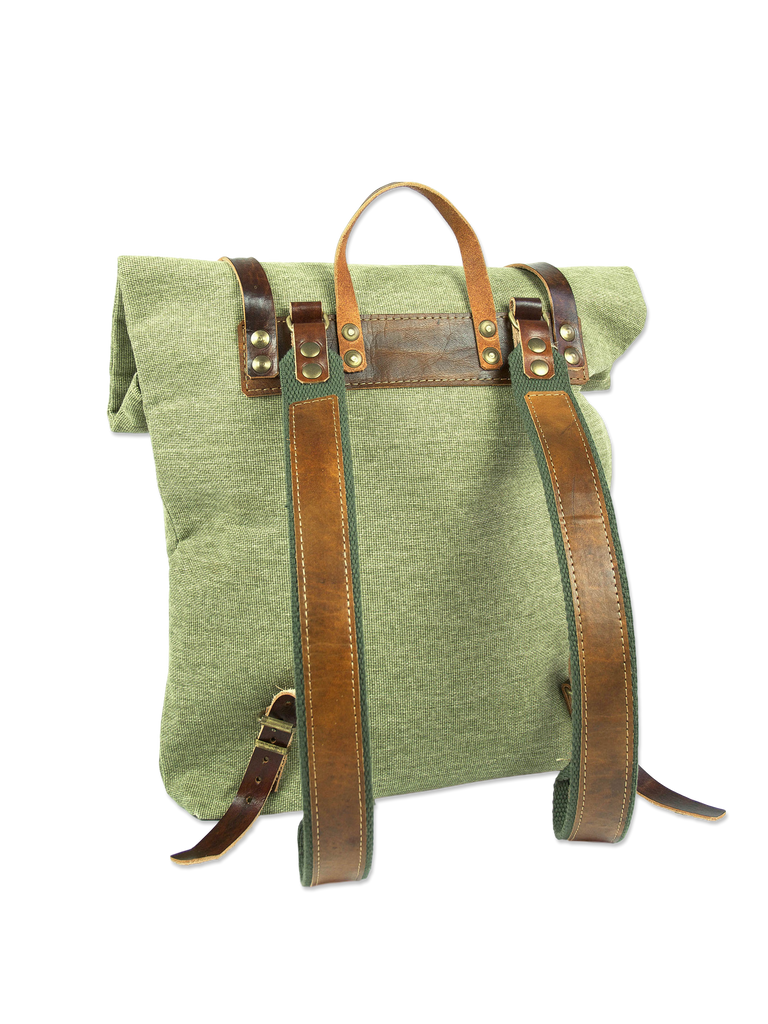 Organic handcrafted rolltop backpack