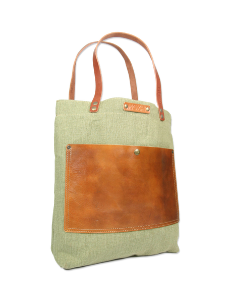 Handmade leather shopper bag