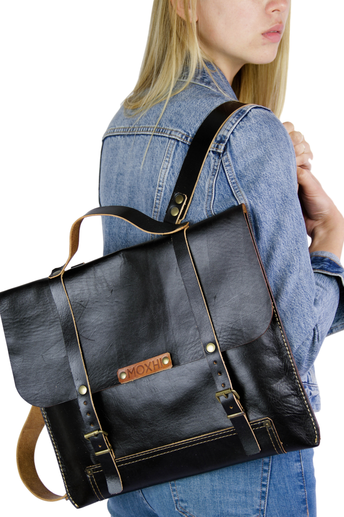 Organic leather backpack women