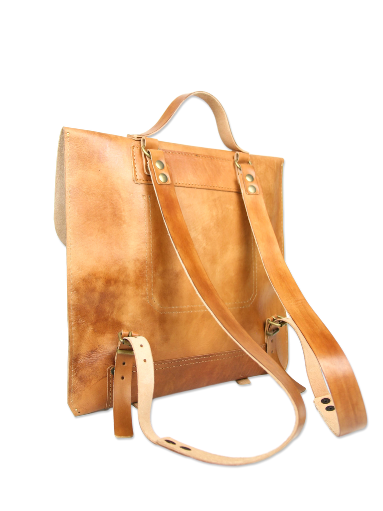 Handcrafted leather backpack brown classic