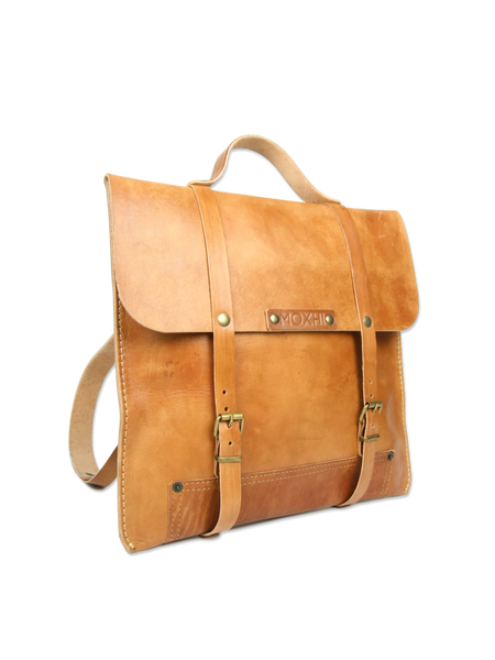 Handmade leather backpack classic brown