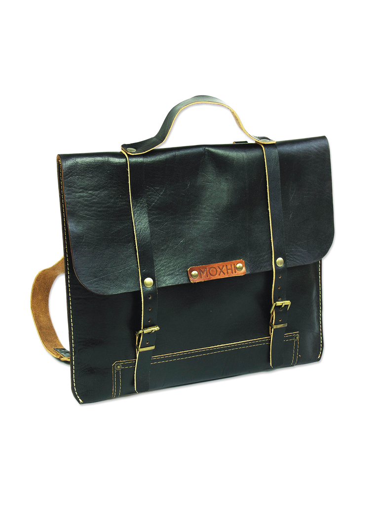Handcrafted black backpack organic leather