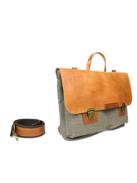 Handmade briefcase leather and cotton
