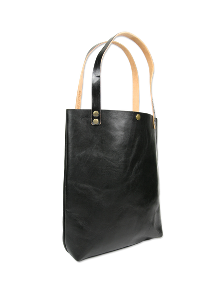 Handcrafted leather tote bag black