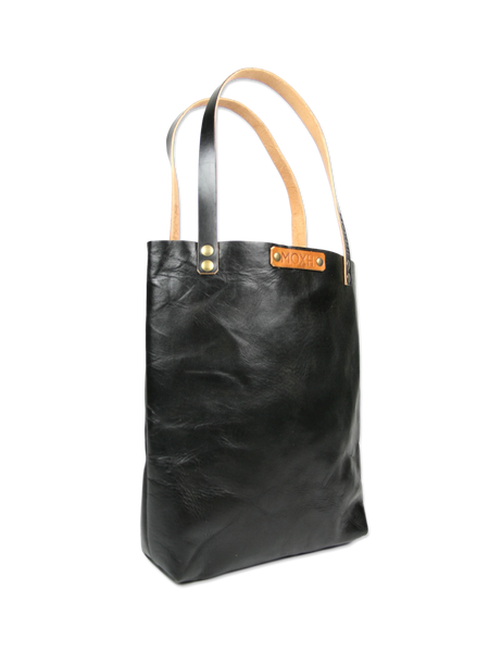 Handmade leather tote bag black