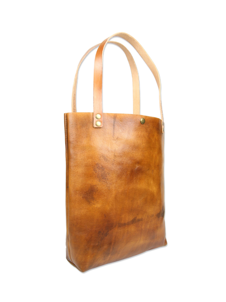 Handmade leather tote bag brown