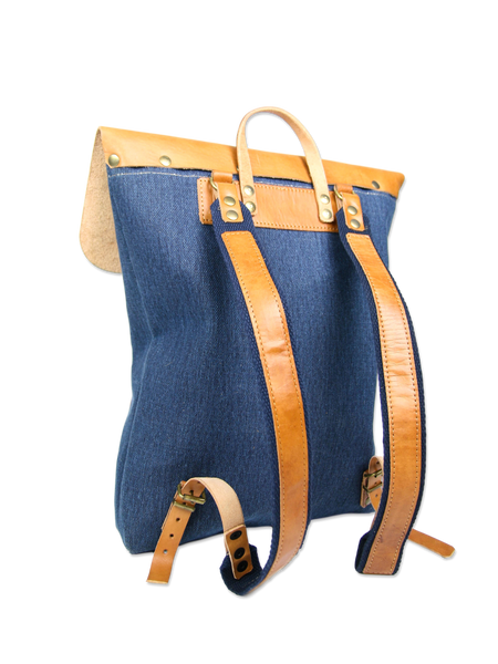 Handcrafted backpack blue fair trade