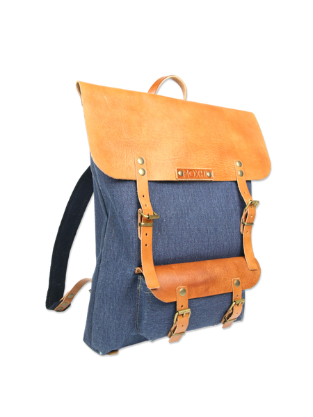 Handmade backpack blue fair trade