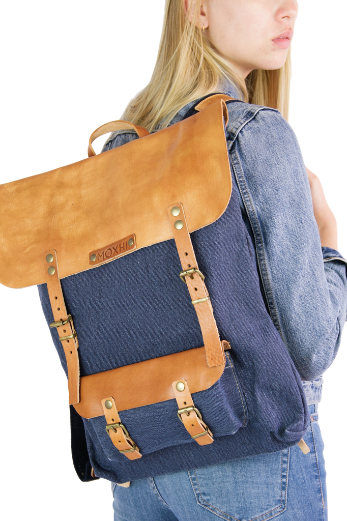Blue handcrafted backpack fair trade women