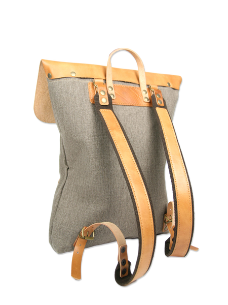 Beautiful handcrafted backpack leather cotton