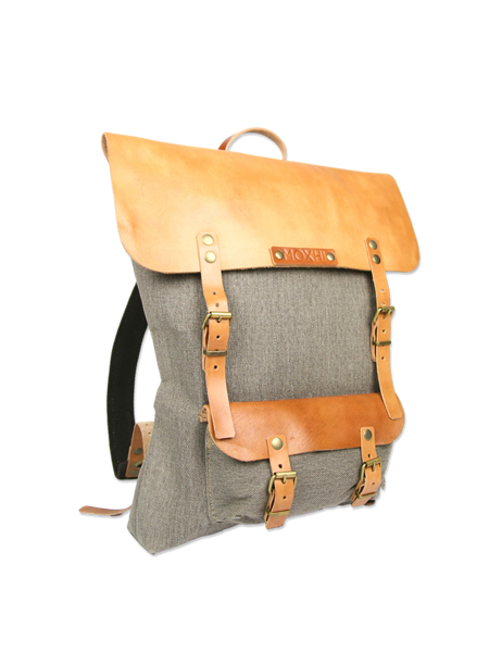 Beautiful handmade backpack leather cotton