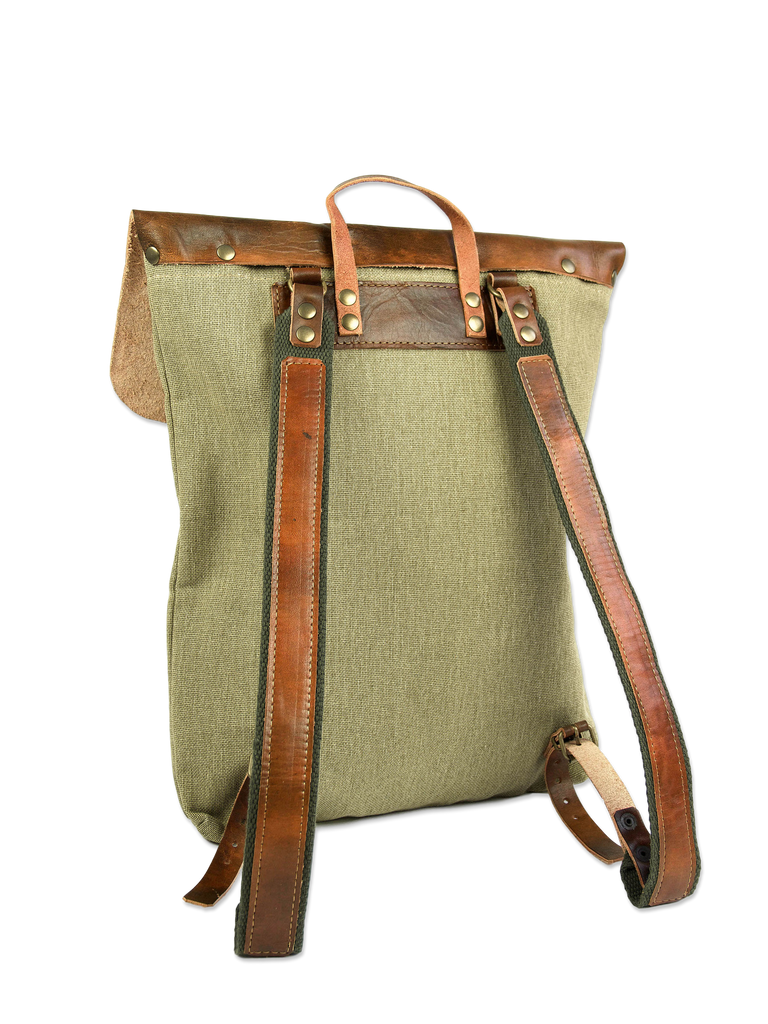 Sustainable backpack handcrafted green