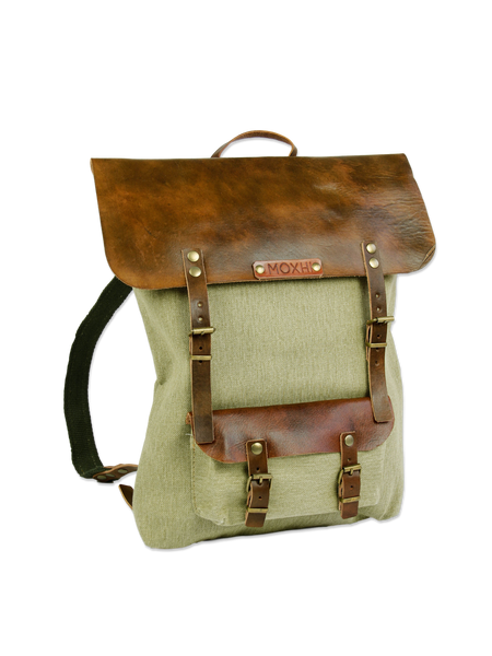 Sustainable backpack handmade green