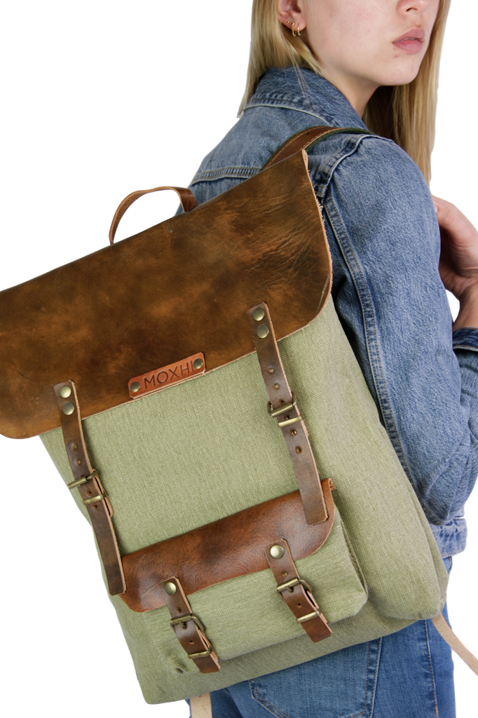 Vintage backpack green artisan women