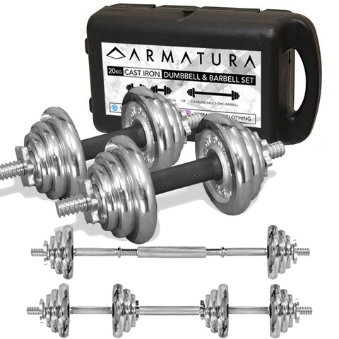 20kg Adjustable Cast Iron Dumbbell and Barbell Set in Chrome