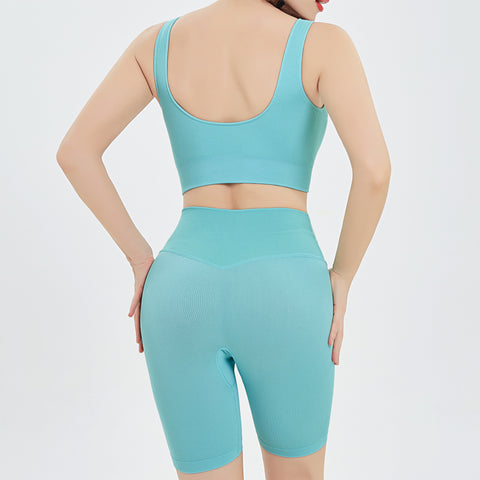 Bicycle Shorts & Bra Set in Tiffany Blue