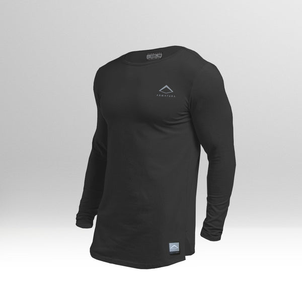 Mens Muscle Fit Long Sleeve T in Black