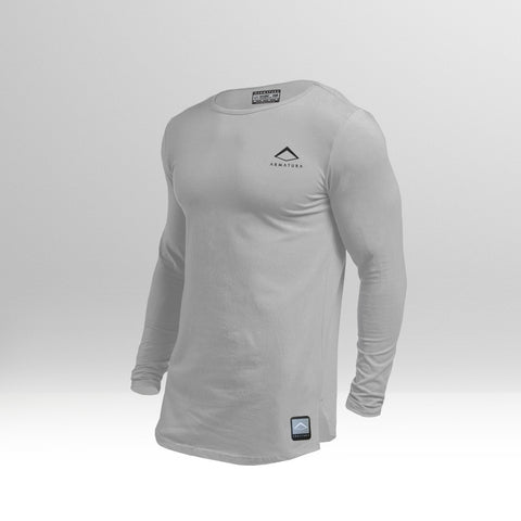 Mens Muscle Fit Long Sleeved T in Light Grey
