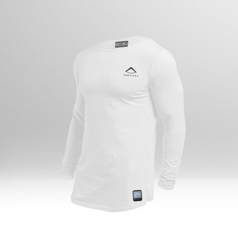 Mens Muscle Fit Long Sleeved T in White