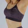 Acid Wash Seamless Bra in Burgundy
