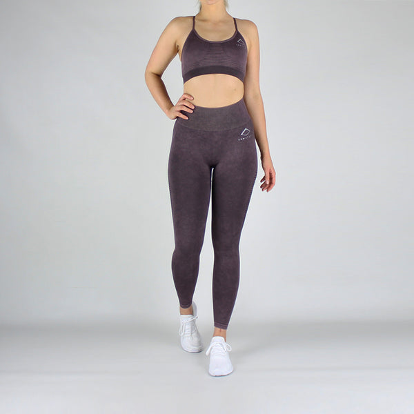 Acid Wash High Waisted Leggings in Burgundy