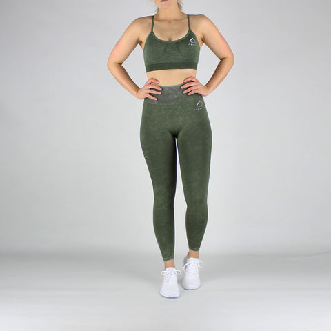 Acid Wash High Waisted Leggings in Ivy