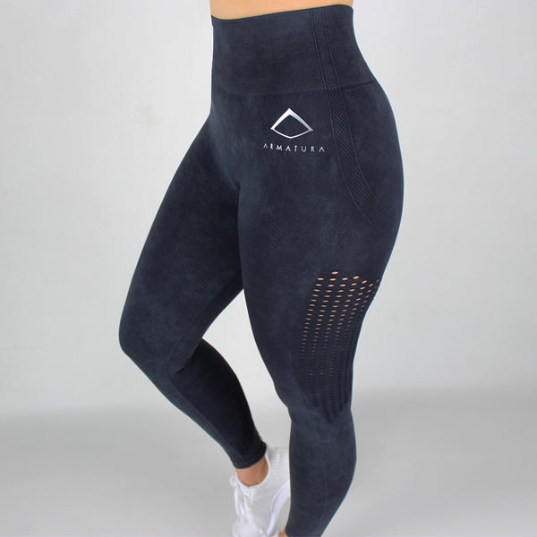 Acid Wash High Waisted Leggings in Midnight