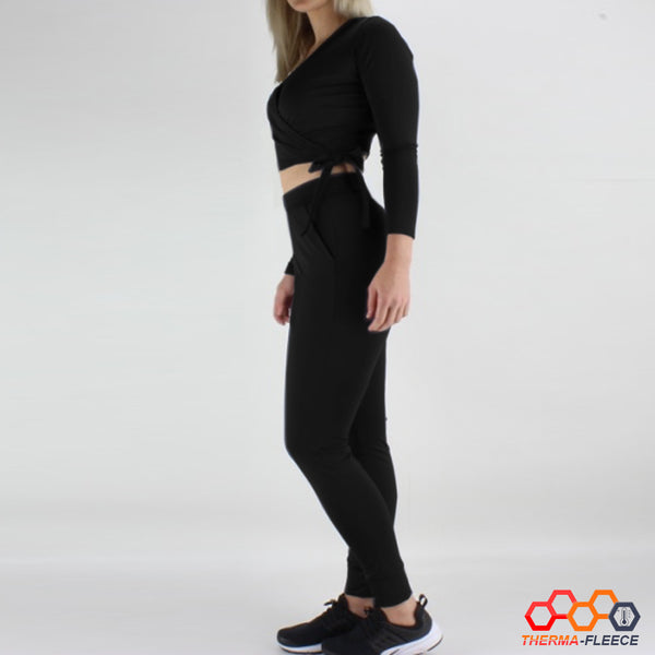 Cropped Ballet Wrap Therma-Fleece Long Sleeve Top in Black