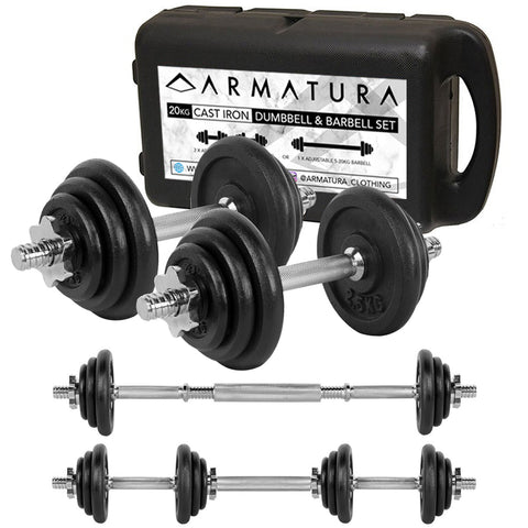 20kg Adjustable Cast Iron Dumbbell and Barbell Set in Black