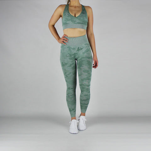 Camo High Waisted Seamless Leggings in Soft Green