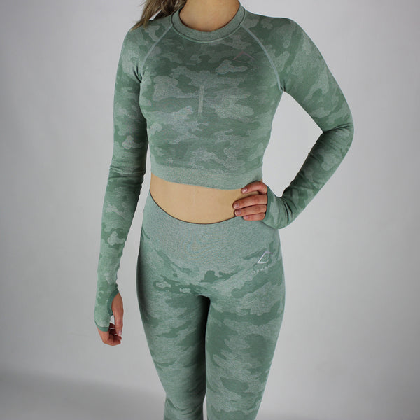 Camo Seamless Long Sleeve Cropped Top in Soft Green