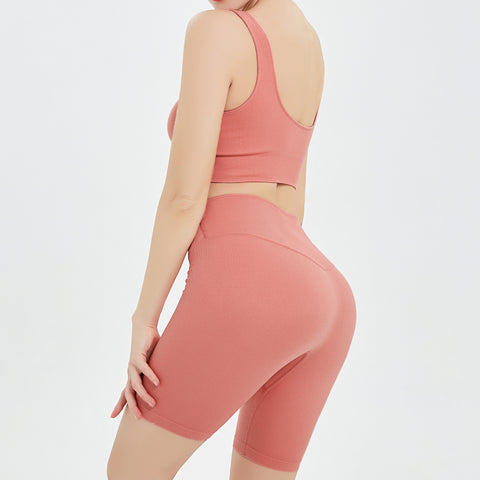 Bicycle Shorts & Bra Set in Coral