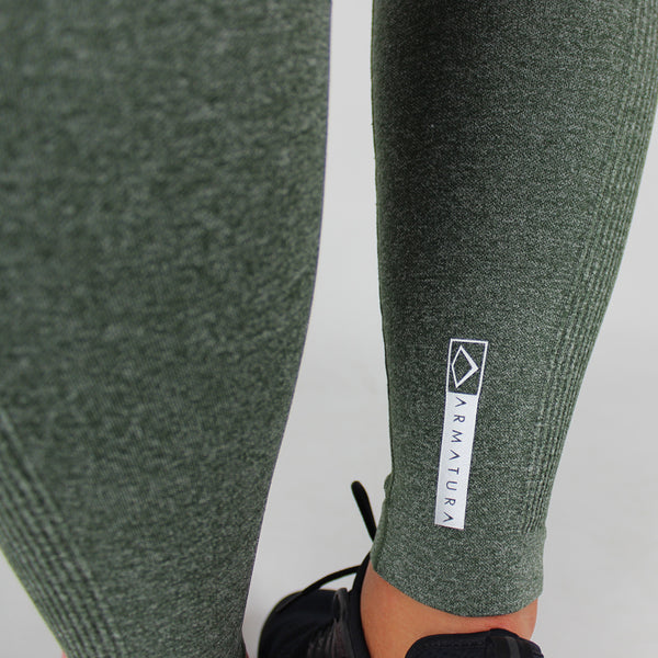 Core High Waisted Seamless Leggings in Olive Fleck