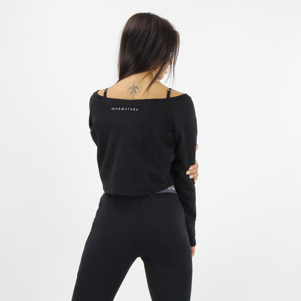 Cali Long Sleeve Cropped Top in Black