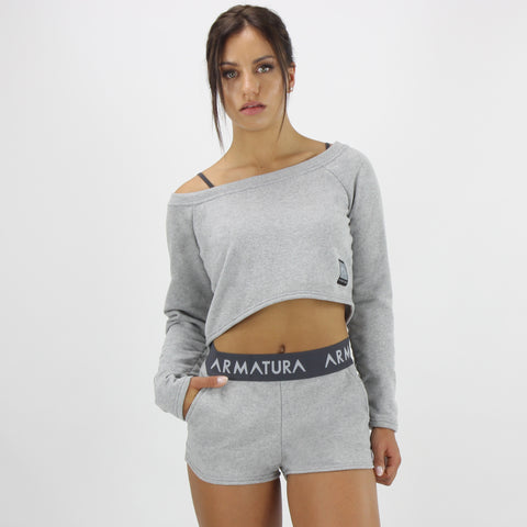 Cali Long Sleeve Cropped Top in Grey