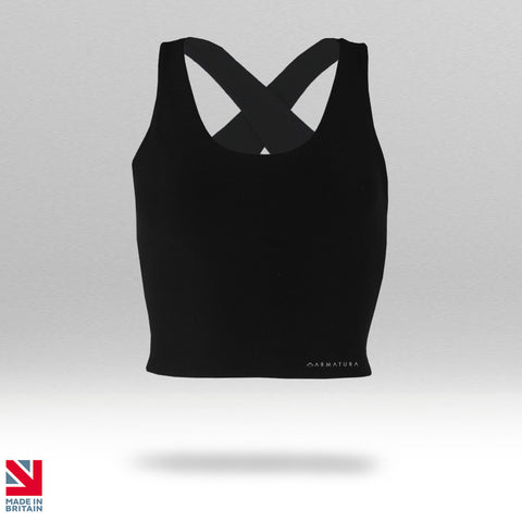 Armatura Luxe Cross Back Crop Tank in Black