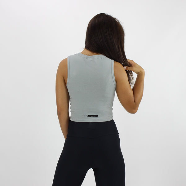 Twist Front Cropped Vest in Duck Egg