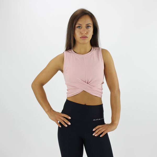 Twist Front Cropped Vest in Dusty Pink