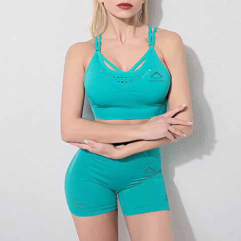 Geo High Waisted Shorts in Tiffany Mint
