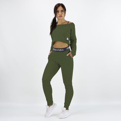 Cali Long Sleeve Cropped Top in Khaki