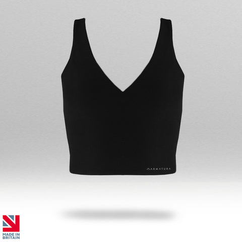 Armatura Luxe Scoop Back Crop Tank in Black