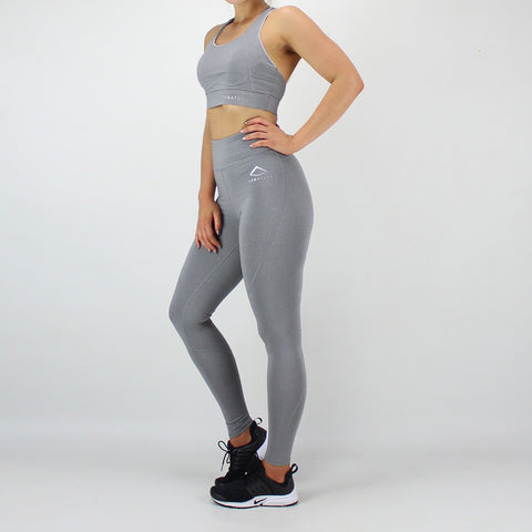 Session Sports Bra and High Waisted Legging Set in Grey