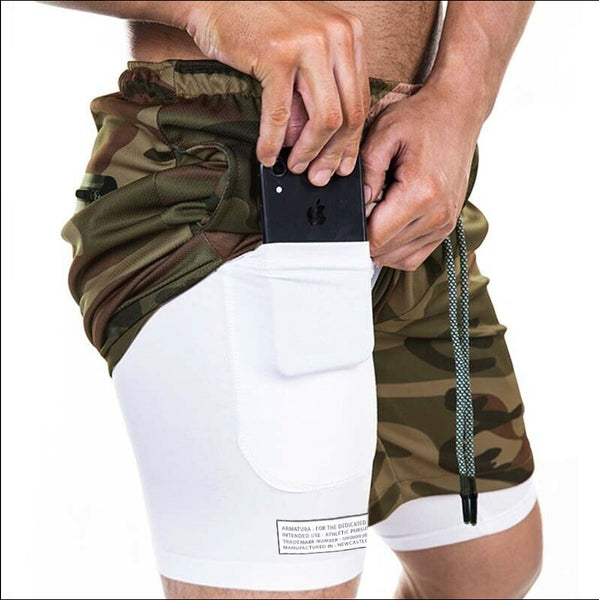 Tech Phone Pocket Shorts in Dark Camo