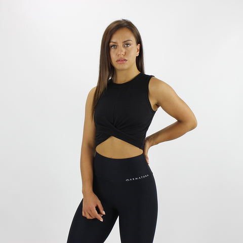 Twist Front Cropped Vest in Black