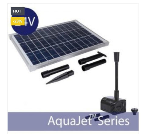 24v AquaJet Custom Solar Fountain Submersible Pump Kit (	AquaJet-Custom-Kit-24V-V1)
