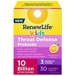 Renew Life KIDS THROAT DEFENSE PROBIOTIC 10 BILLION, 30 chewable tablets