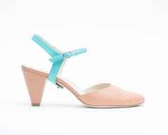 Blush Mule + Jackie in Caribbean Blue