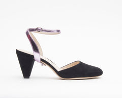 Black Suede Mule + Marilyn in Lilac