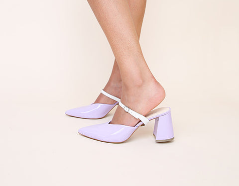 Lilac Gloss Mule White Twiggy Strap | Alterre Interchangeable Shoes | Modular Eco Shoes