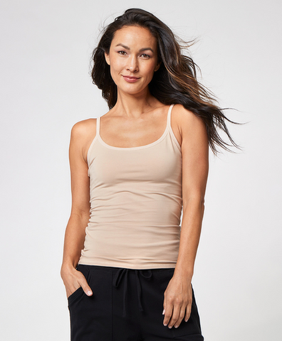 Shelf Bra Camisole | Pact | Fitted Nude Eco Tank Top
